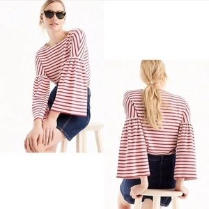 J Crew Red and White Striped Blouse